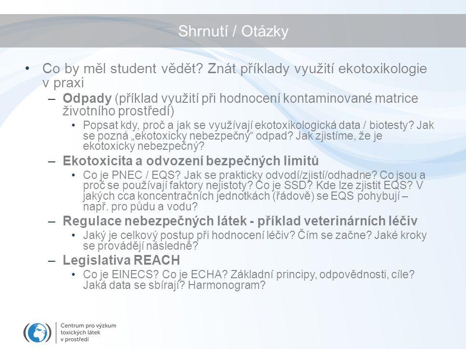 Shrnutí / Otázky Co by měl student vědět? Znát příklady využití ekotoxikologie v praxi –Odpady (příklad využití při hodnocení kontaminované matrice ži