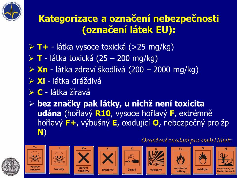 Kategorizace a označení nebezpečnosti (označení látek EU):  T+ - látka vysoce toxická (>25 mg/kg)  T - látka toxická (25 – 200 mg/kg)  Xn - látka z