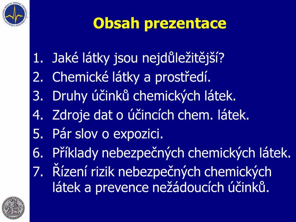 Obsah prezentace 1.Jaké látky jsou nejdůležitější? 2.Chemické látky a prostředí. 3.Druhy účinků chemických látek. 4.Zdroje dat o účincích chem. látek.