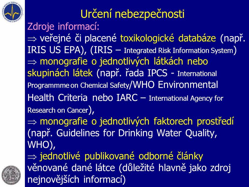 Určení nebezpečnosti Zdroje informací:  veřejné či placené toxikologické databáze (např. IRIS US EPA), (IRIS – Integrated Risk Information System ) 