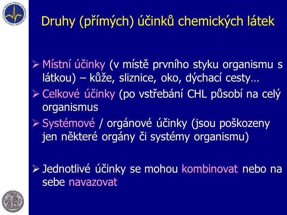 Druhy (přímých) účinků chemických látek  Místní účinky (v místě prvního styku organismu s látkou) – kůže, sliznice, oko, dýchací cesty…  Celkové úči