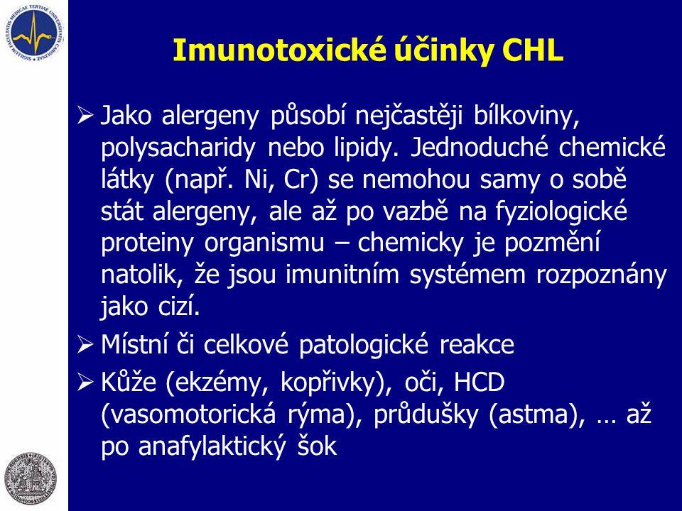 Imunotoxické účinky CHL  Jako alergeny působí nejčastěji bílkoviny, polysacharidy nebo lipidy. Jednoduché chemické látky (např. Ni, Cr) se nemohou sa