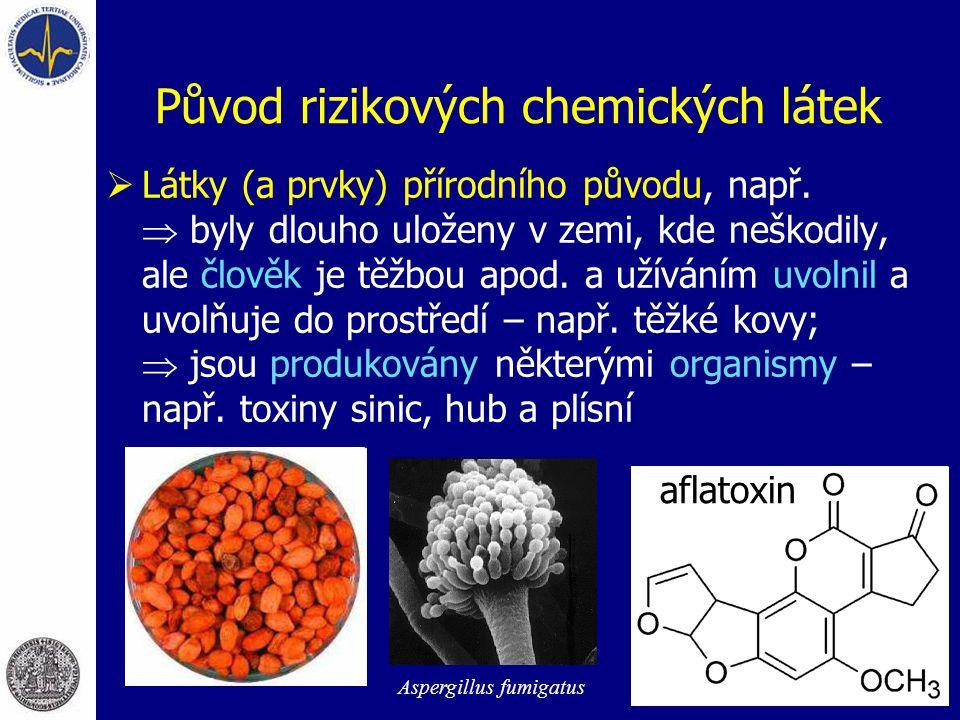 Původ rizikových chemických látek  Látky (a prvky) přírodního původu, např.  byly dlouho uloženy v zemi, kde neškodily, ale člověk je těžbou apod. a