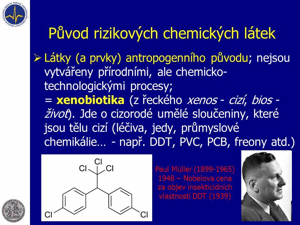 Původ rizikových chemických látek  Látky (a prvky) antropogenního původu; nejsou vytvářeny přírodními, ale chemicko- technologickými procesy; = xenob