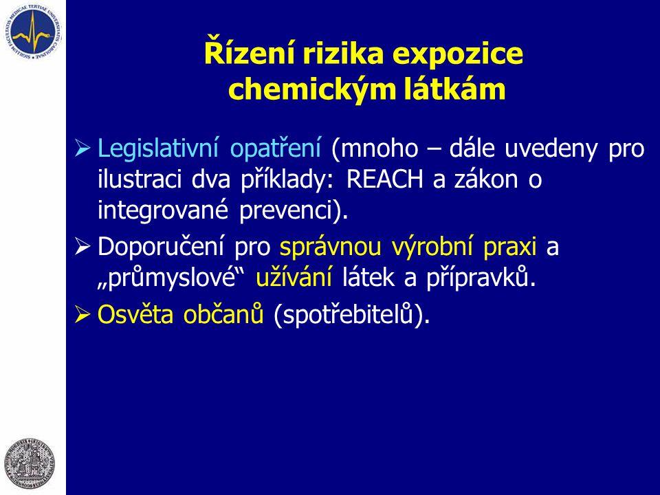 Řízení rizika expozice chemickým látkám  Legislativní opatření (mnoho – dále uvedeny pro ilustraci dva příklady: REACH a zákon o integrované prevenci