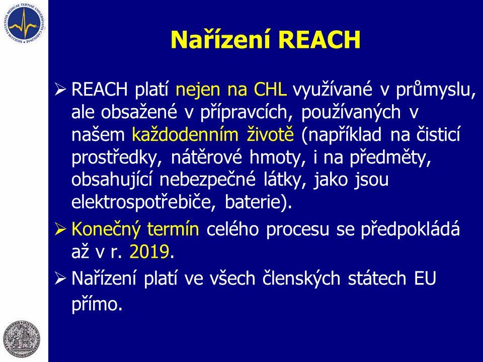 Nařízení REACH  REACH platí nejen na CHL využívané v průmyslu, ale obsažené v přípravcích, používaných v našem každodenním životě (například na čisti