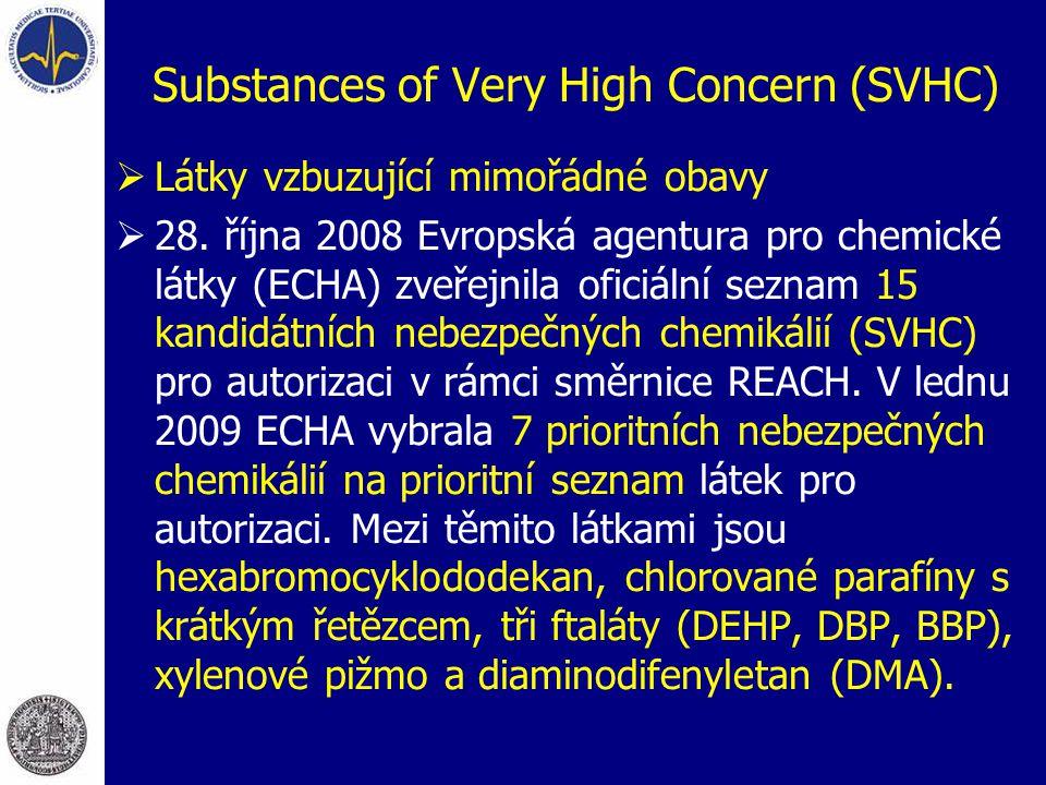 Substances of Very High Concern (SVHC)  Látky vzbuzující mimořádné obavy  28. října 2008 Evropská agentura pro chemické látky (ECHA) zveřejnila ofic