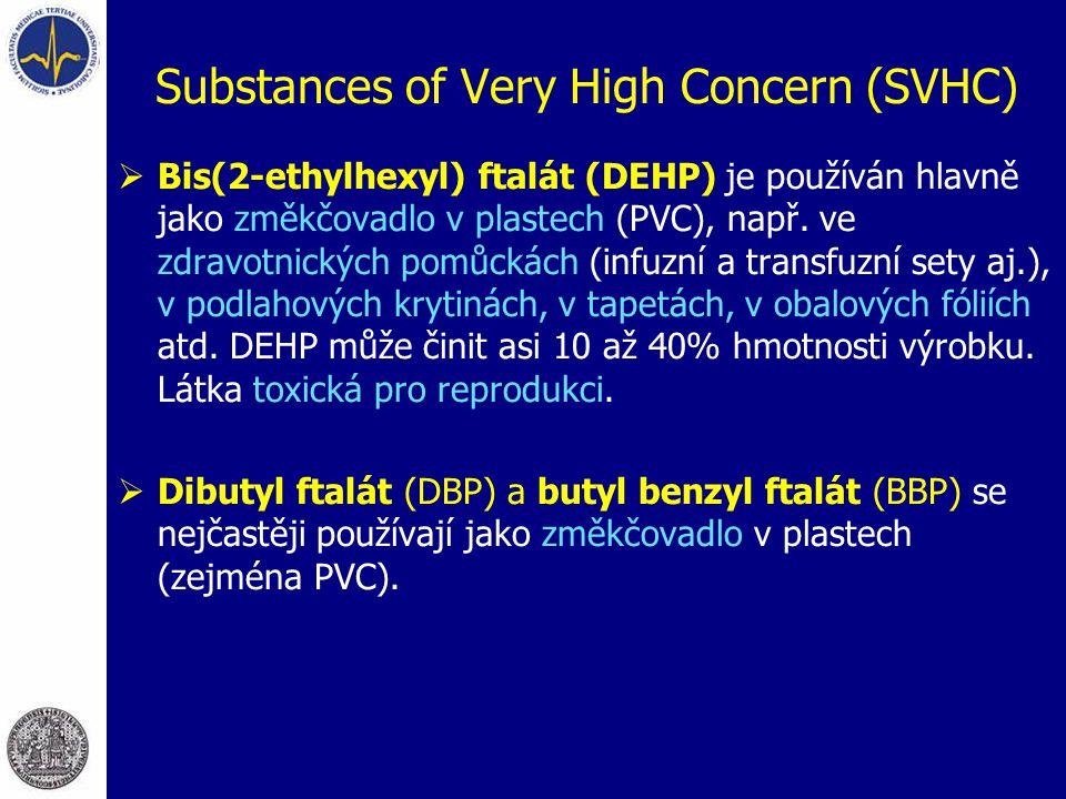 Substances of Very High Concern (SVHC)  Bis(2-ethylhexyl) ftalát (DEHP) je používán hlavně jako změkčovadlo v plastech (PVC), např. ve zdravotnických
