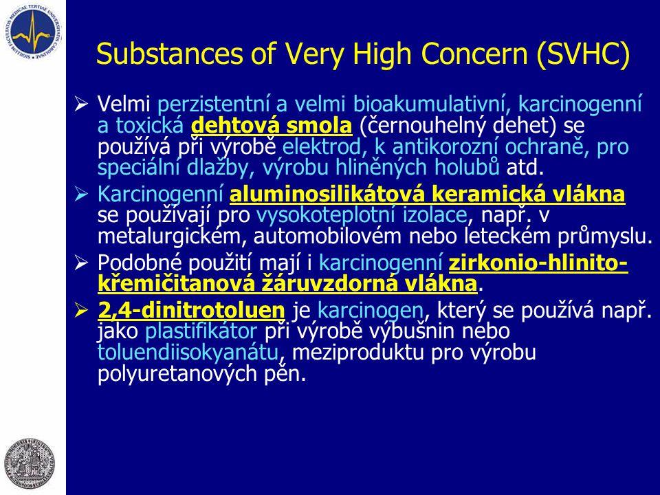 Substances of Very High Concern (SVHC)  Velmi perzistentní a velmi bioakumulativní, karcinogenní a toxická dehtová smola (černouhelný dehet) se použí