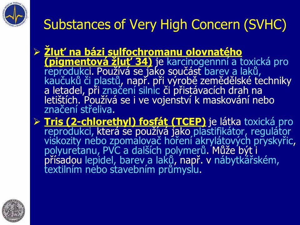 Substances of Very High Concern (SVHC)  Žluť na bázi sulfochromanu olovnatého (pigmentová žluť 34) je karcinogennní a toxická pro reprodukci. Používá