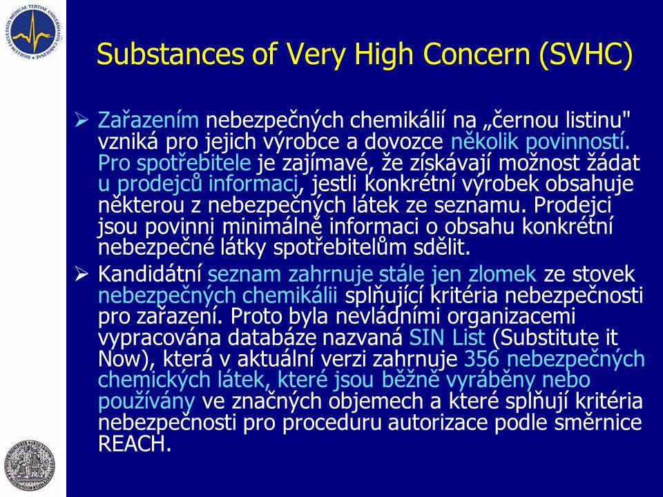 """Substances of Very High Concern (SVHC)  Zařazením nebezpečných chemikálií na """"černou listinu"""
