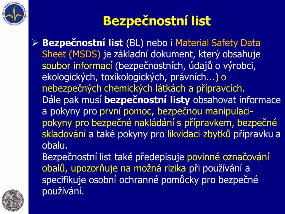 Bezpečnostní list  Bezpečnostní list (BL) nebo i Material Safety Data Sheet (MSDS) je základní dokument, který obsahuje soubor informací (bezpečnostn