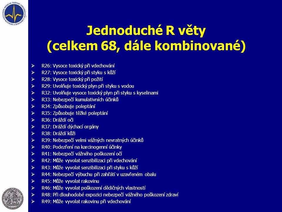 Jednoduché R věty (celkem 68, dále kombinované)  R26: Vysoce toxický při vdechování  R27: Vysoce toxický při styku s kůží  R28: Vysoce toxický při
