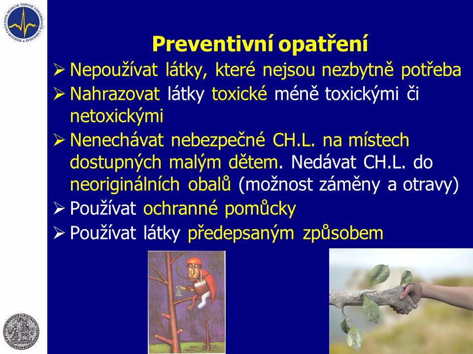 Preventivní opatření  Nepoužívat látky, které nejsou nezbytně potřeba  Nahrazovat látky toxické méně toxickými či netoxickými  Nenechávat nebezpečn