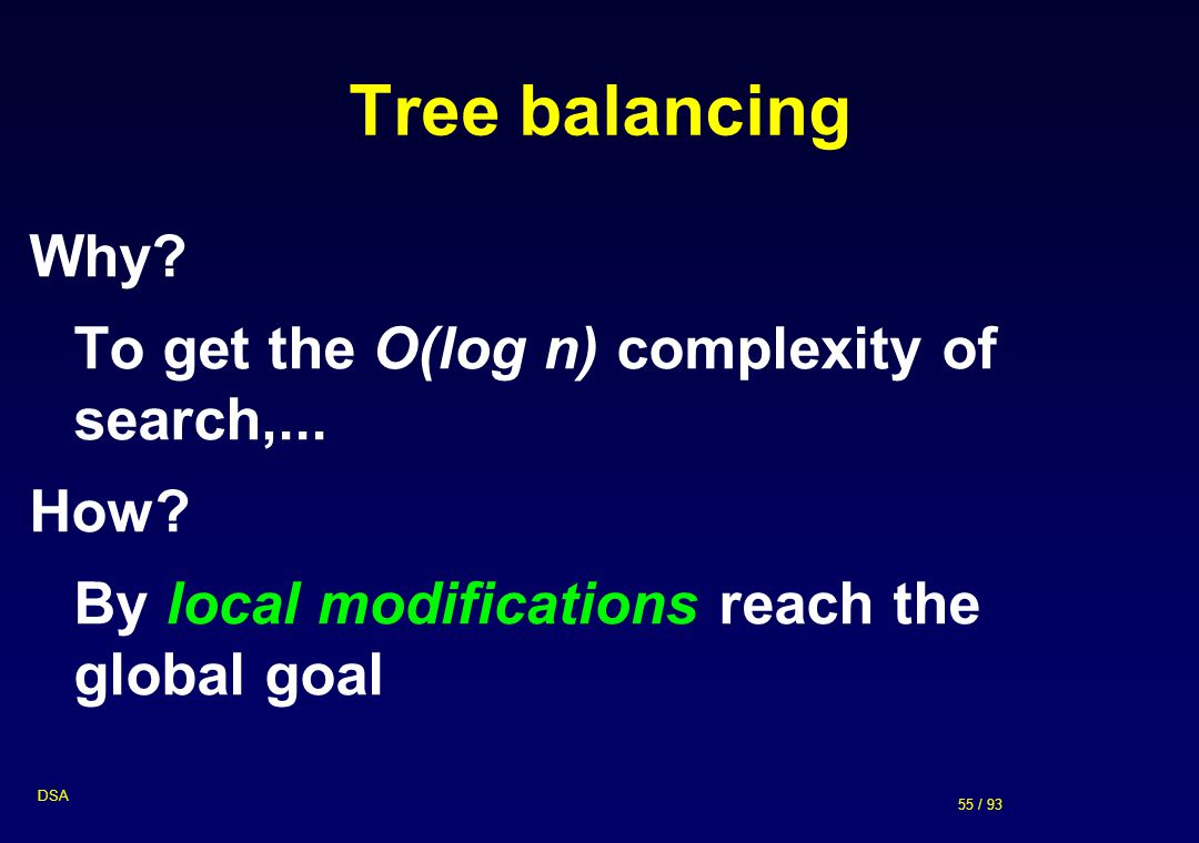 55 / 93 DSA Tree balancing Why? To get the O(log n) complexity of search,... How? By local modifications reach the global goal