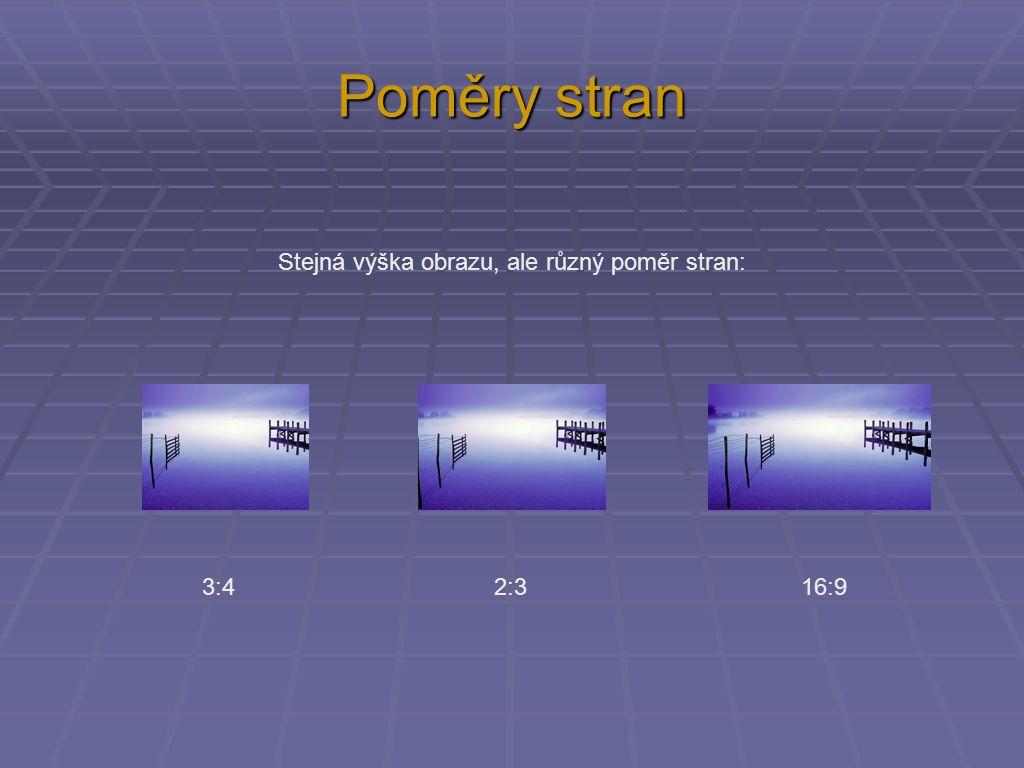 Poměry stran Stejná výška obrazu, ale různý poměr stran: 3:4 2:3 16:9