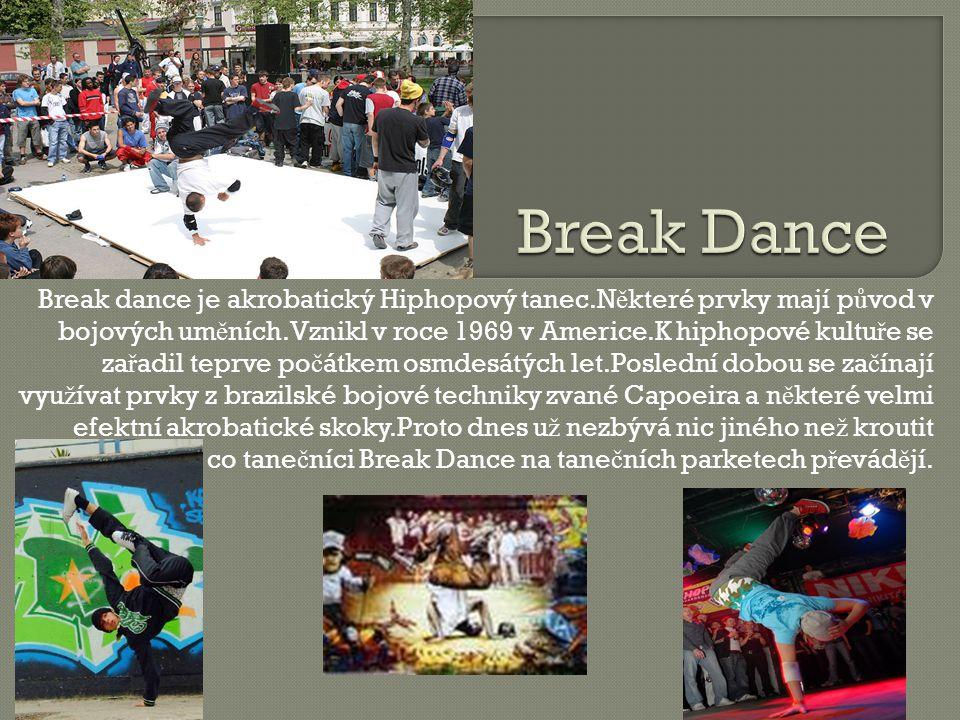 Break dance je akrobatický Hiphopový tanec.N ě které prvky mají p ů vod v bojových um ě ních.Vznikl v roce 1969 v Americe.K hiphopové kultu ř e se za ř adil teprve po č átkem osmdesátých let.Poslední dobou se za č ínají vyu ž ívat prvky z brazilské bojové techniky zvané Capoeira a n ě které velmi efektní akrobatické skoky.Proto dnes u ž nezbývá nic jiného ne ž kroutit hlavou nad tím, co tane č níci Break Dance na tane č ních parketech p ř evád ě jí.