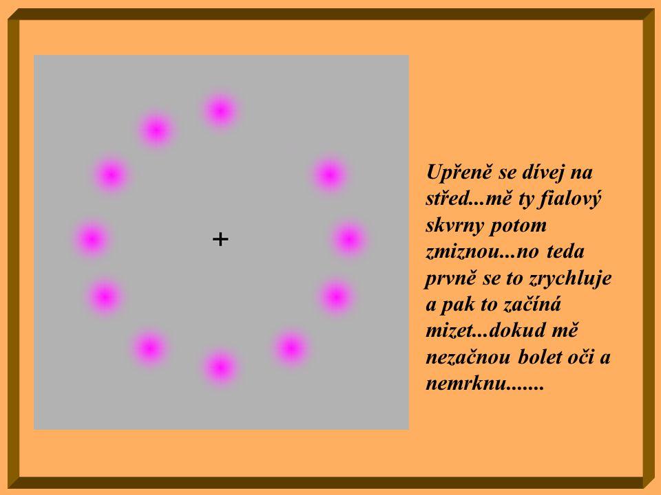 Zkoncentruj pozornost na bod uprostřed obrázku a pohybuj hlavou dopředu a dozadu.