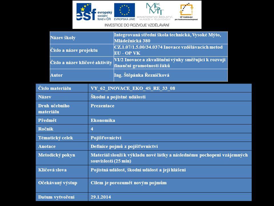 Číslo materiáluVY_62_INOVACE_EKO_4S_RE_33_08 NázevŠkodní a pojistné události Druh učebního materiálu Prezentace PředmětEkonomika Ročník4 Tématický celekPojišťovnictví AnotaceDefinice pojmů z pojišťovnictví Metodický pokynMateriál slouží k výkladu nové látky a následnému pochopení vzájemných souvislostí (25 min) Klíčová slovaPojistná událost, škodní událost a její hlášení Očekávaný výstupCílem je porozumět novým pojmům Datum vytvoření29.1.2014 Název školy Integrovaná střední škola technická, Vysoké Mýto, Mládežnická 380 Číslo a název projektu CZ.1.07/1.5.00/34.0374 Inovace vzdělávacích metod EU - OP VK Číslo a název klíčové aktivity VI/2 Inovace a zkvalitnění výuky směřující k rozvoji finanční gramotnosti žáků AutorIng.