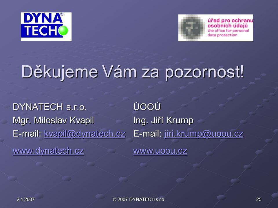 252.4.2007© 2007 DYNATECH s.r.o. Děkujeme Vám za pozornost! DYNATECH s.r.o. Mgr. Miloslav Kvapil E-mail: kvapil@dynatech.cz kvapil@dynatech.cz www.dyn