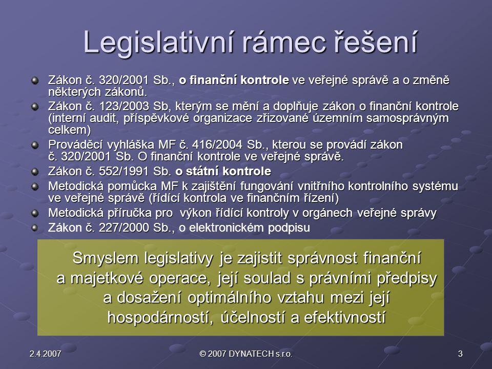 32.4.2007© 2007 DYNATECH s.r.o. Legislativní rámec řešení Zákon č. 320/2001 Sb., o finanční kontrole ve veřejné správě a o změně některých zákonů. Zák