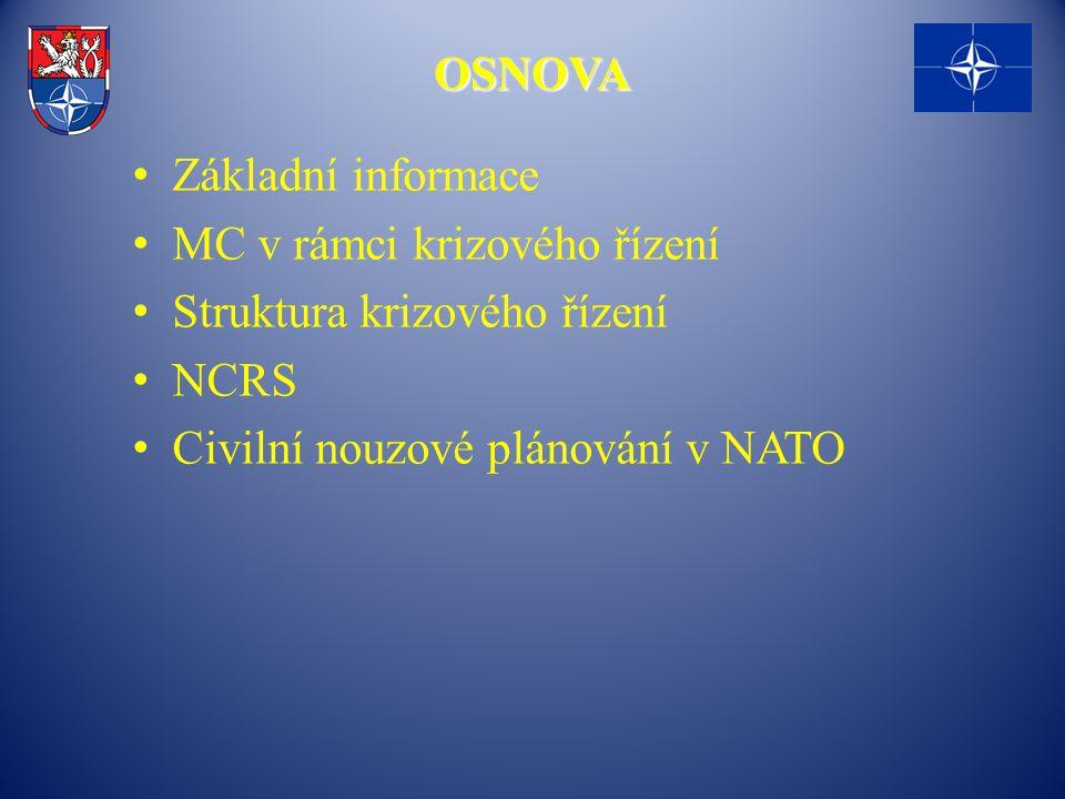 OSNOVA Základní informace MC v rámci krizového řízení Struktura krizového řízení NCRS Civilní nouzové plánování v NATO