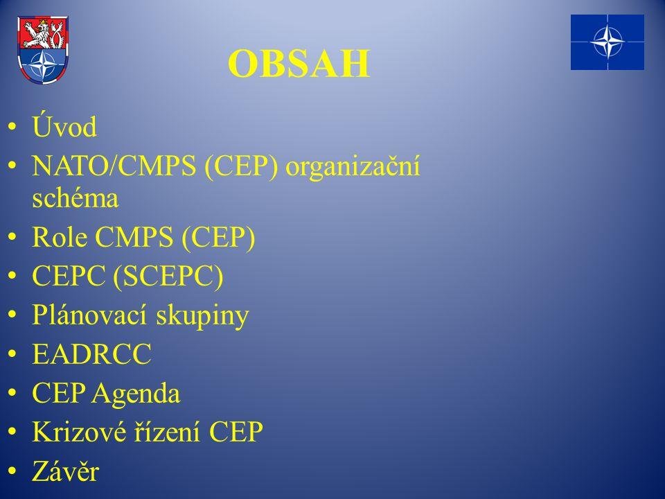 OBSAH Úvod NATO/CMPS (CEP) organizační schéma Role CMPS (CEP) CEPC (SCEPC) Plánovací skupiny EADRCC CEP Agenda Krizové řízení CEP Závěr