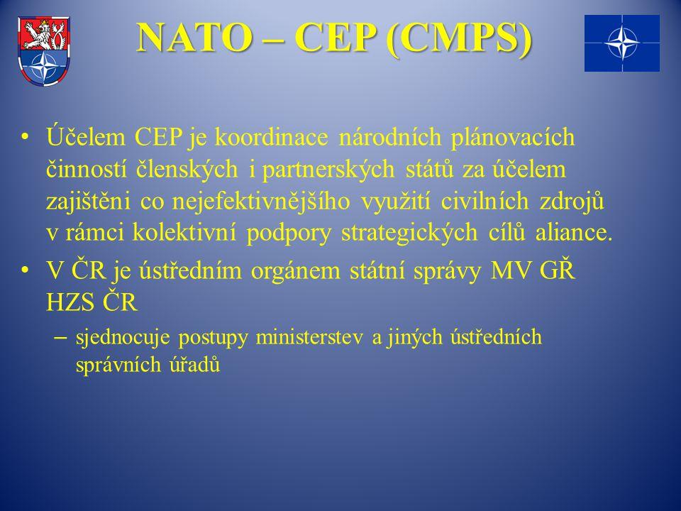 NATO – CEP (CMPS) Účelem CEP je koordinace národních plánovacích činností členských i partnerských států za účelem zajištěni co nejefektivnějšího využ