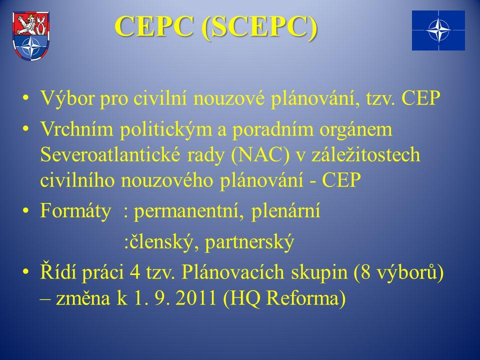 CEPC (SCEPC) Výbor pro civilní nouzové plánování, tzv. CEP Vrchním politickým a poradním orgánem Severoatlantické rady (NAC) v záležitostech civilního
