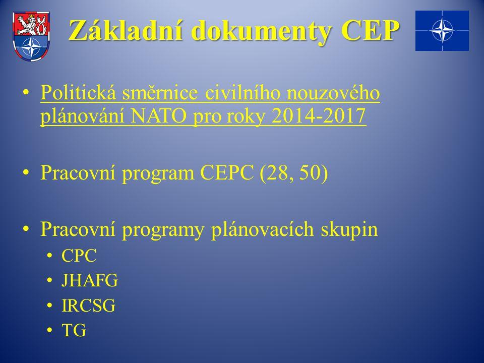 Základní dokumenty CEP Politická směrnice civilního nouzového plánování NATO pro roky 2014-2017 Pracovní program CEPC (28, 50) Pracovní programy plánovacích skupin CPC JHAFG IRCSG TG