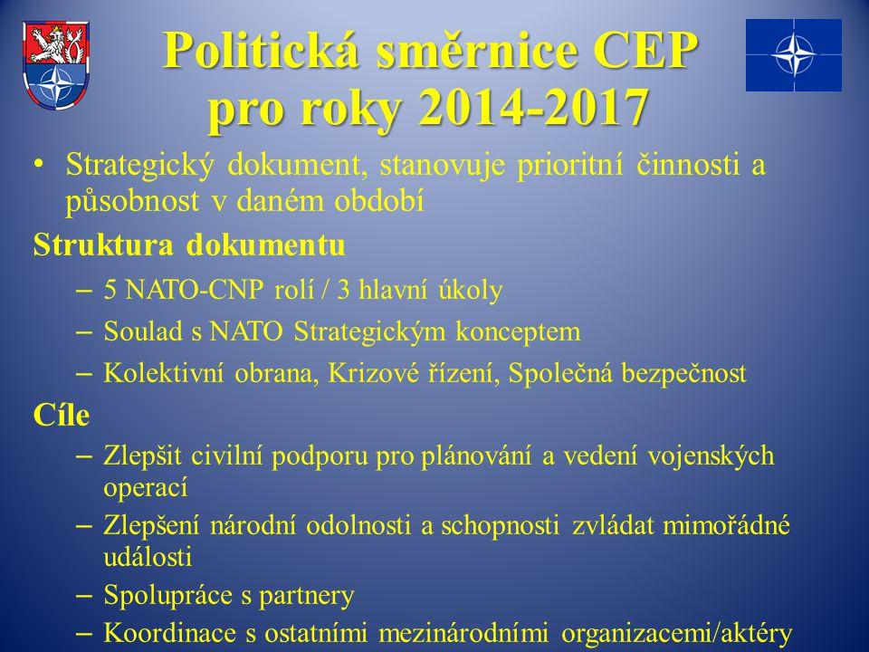 Politická směrnice CEP pro roky 2014-2017 Strategický dokument, stanovuje prioritní činnosti a působnost v daném období Struktura dokumentu – 5 NATO-C