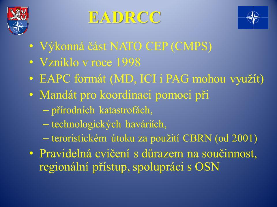 EADRCC Výkonná část NATO CEP (CMPS) Vzniklo v roce 1998 EAPC formát (MD, ICI i PAG mohou využít) Mandát pro koordinaci pomoci při – přírodních katastrofách, – technologických haváriích, – teroristickém útoku za použití CBRN (od 2001) Pravidelná cvičení s důrazem na součinnost, regionální přístup, spolupráci s OSN