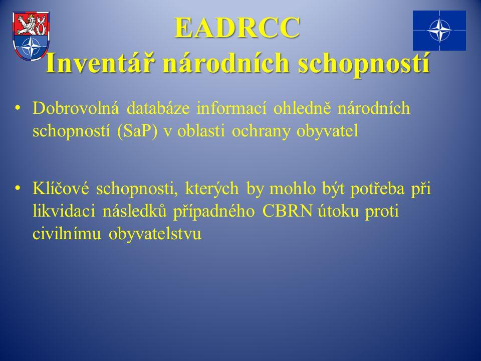 EADRCC Inventář národních schopností Dobrovolná databáze informací ohledně národních schopností (SaP) v oblasti ochrany obyvatel Klíčové schopnosti, kterých by mohlo být potřeba při likvidaci následků případného CBRN útoku proti civilnímu obyvatelstvu