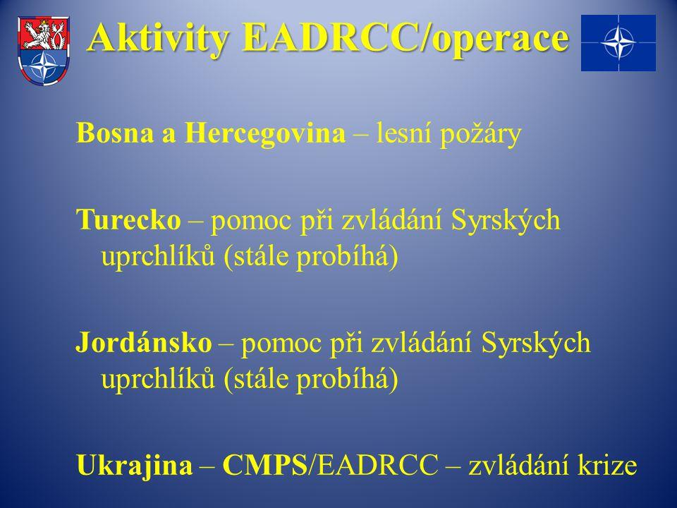 Aktivity EADRCC/operace Bosna a Hercegovina – lesní požáry Turecko – pomoc při zvládání Syrských uprchlíků (stále probíhá) Jordánsko – pomoc při zvládání Syrských uprchlíků (stále probíhá) Ukrajina – CMPS/EADRCC – zvládání krize