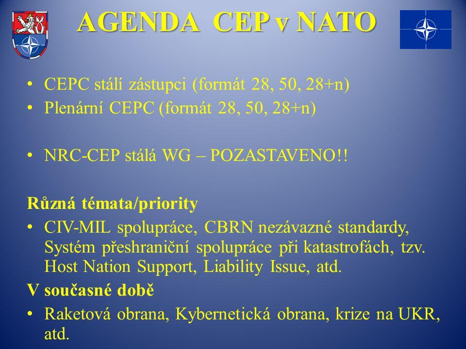 AGENDA CEP v NATO CEPC stálí zástupci (formát 28, 50, 28+n) Plenární CEPC (formát 28, 50, 28+n) NRC-CEP stálá WG – POZASTAVENO!! Různá témata/priority