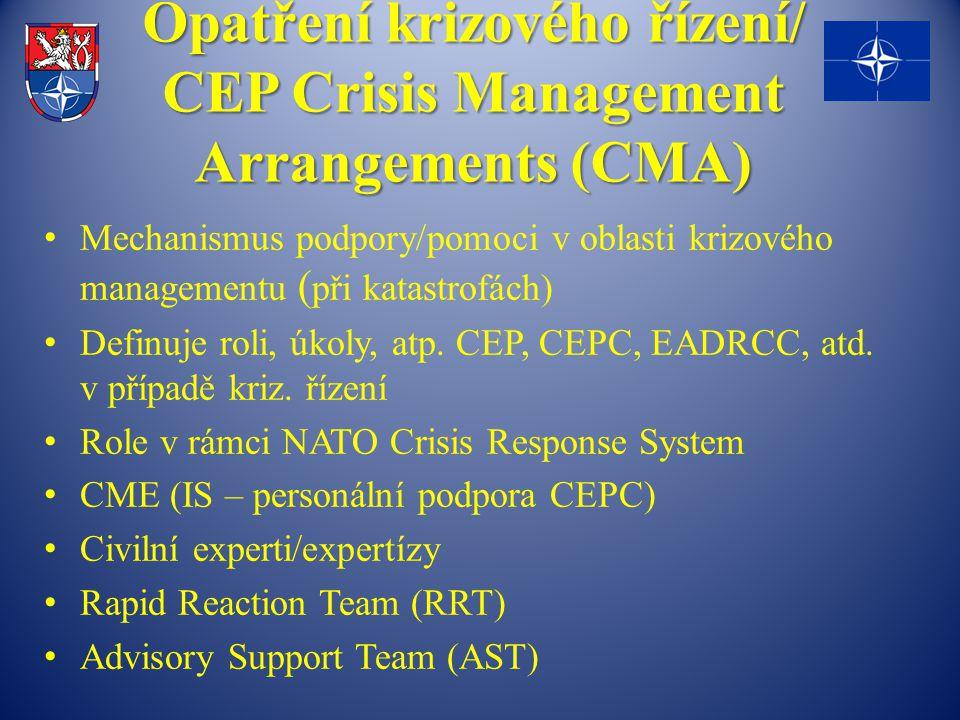 Opatření krizového řízení/ CEP Crisis Management Arrangements (CMA) Mechanismus podpory/pomoci v oblasti krizového managementu ( při katastrofách) Definuje roli, úkoly, atp.