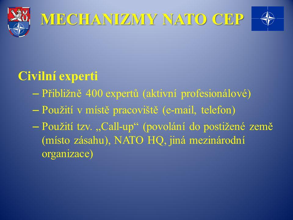 """MECHANIZMY NATO CEP Civilní experti – Přibližně 400 expertů (aktivní profesionálové) – Použití v místě pracoviště (e-mail, telefon) – Použití tzv. """"Ca"""