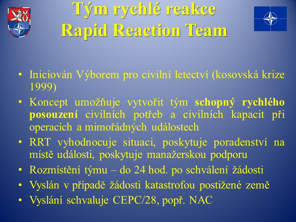 Tým rychlé reakce Rapid Reaction Team Iniciován Výborem pro civilní letectví (kosovská krize 1999) Koncept umožňuje vytvořit tým schopný rychlého poso