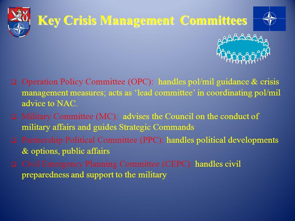 Key Crisis Management Committees Key Crisis Management Committees  Operation Policy Committee (OPC): handles pol/mil guidance & crisis management mea