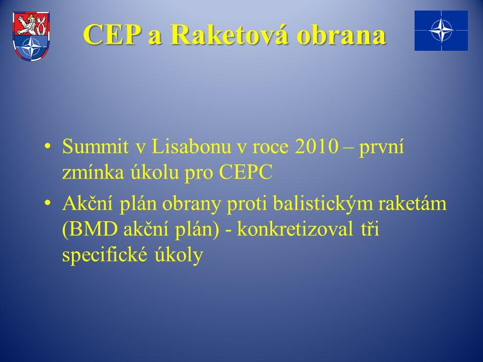 CEP a Raketová obrana Summit v Lisabonu v roce 2010 – první zmínka úkolu pro CEPC Akční plán obrany proti balistickým raketám (BMD akční plán) - konkretizoval tři specifické úkoly