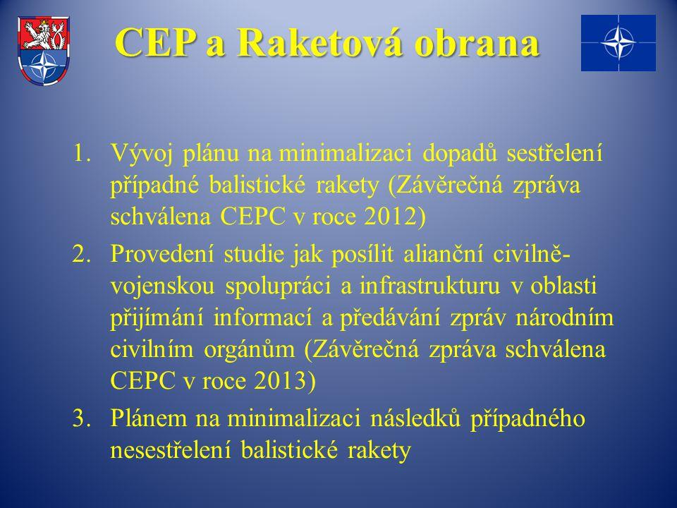 CEP a Raketová obrana 1.Vývoj plánu na minimalizaci dopadů sestřelení případné balistické rakety (Závěrečná zpráva schválena CEPC v roce 2012) 2.Provedení studie jak posílit alianční civilně- vojenskou spolupráci a infrastrukturu v oblasti přijímání informací a předávání zpráv národním civilním orgánům (Závěrečná zpráva schválena CEPC v roce 2013) 3.Plánem na minimalizaci následků případného nesestřelení balistické rakety