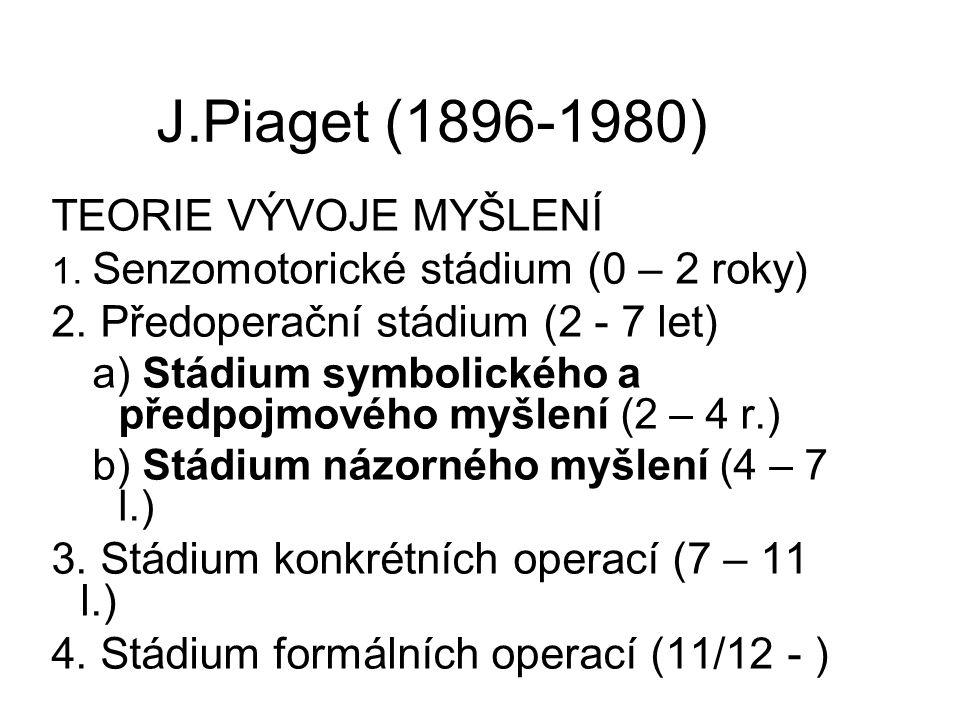 J.Piaget (1896-1980) TEORIE VÝVOJE MYŠLENÍ 1. Senzomotorické stádium (0 – 2 roky) 2. Předoperační stádium (2 - 7 let) a) Stádium symbolického a předpo