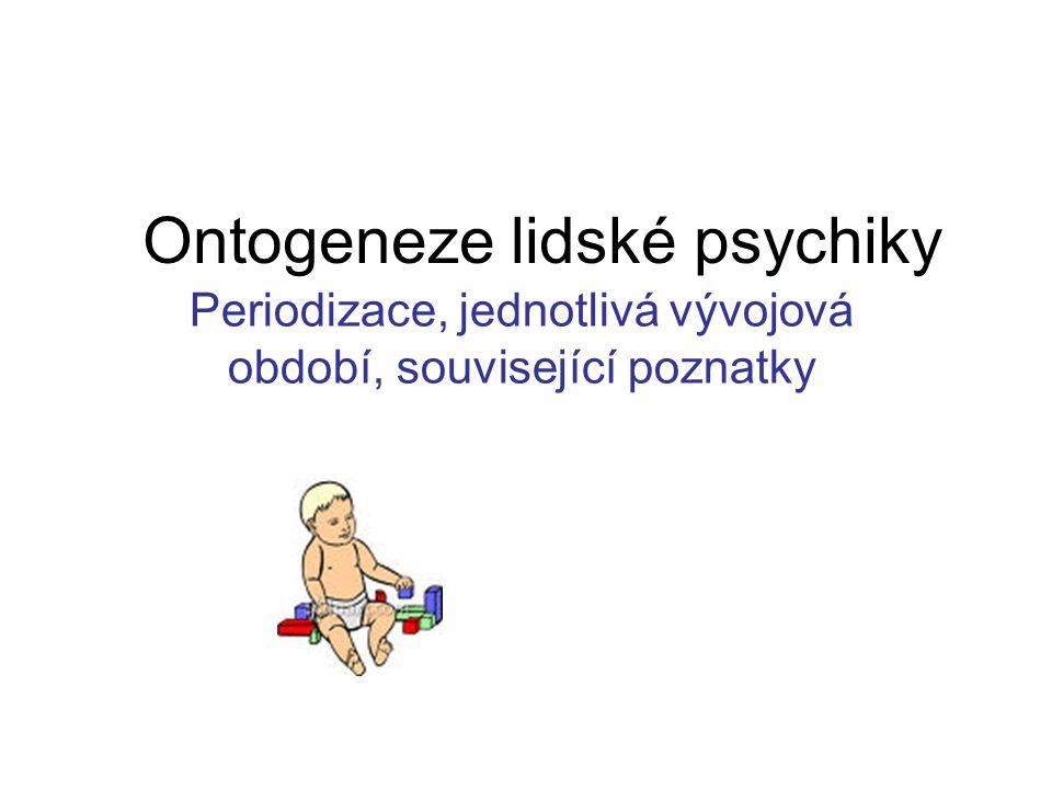 Ontogeneze lidské psychiky Periodizace, jednotlivá vývojová období, související poznatky