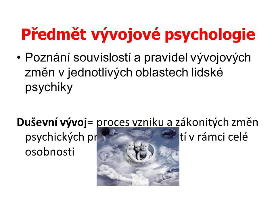 Předmět vývojové psychologie Poznání souvislostí a pravidel vývojových změn v jednotlivých oblastech lidské psychiky Duševní vývoj= proces vzniku a zá