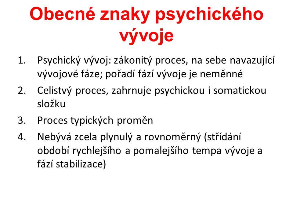 Obecné znaky psychického vývoje 1.Psychický vývoj: zákonitý proces, na sebe navazující vývojové fáze; pořadí fází vývoje je neměnné 2.Celistvý proces,