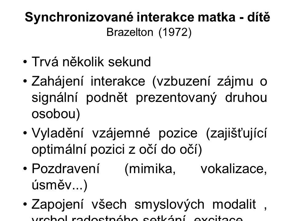 Synchronizované interakce matka - dítě Brazelton (1972) Trvá několik sekund Zahájení interakce (vzbuzení zájmu o signální podnět prezentovaný druhou o