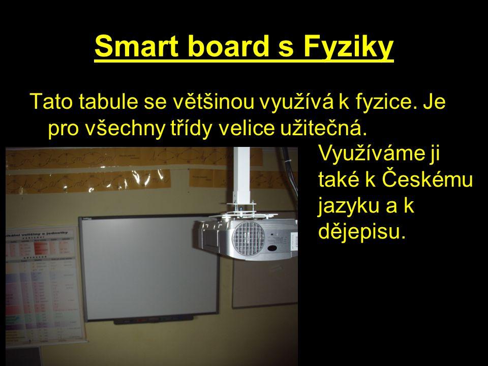 Smart board s Fyziky Tato tabule se většinou využívá k fyzice.