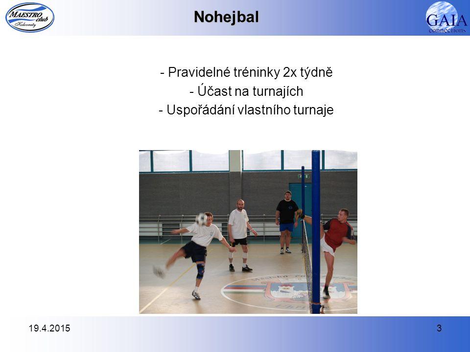 19.4.20153Nohejbal - Pravidelné tréninky 2x týdně - Účast na turnajích - Uspořádání vlastního turnaje