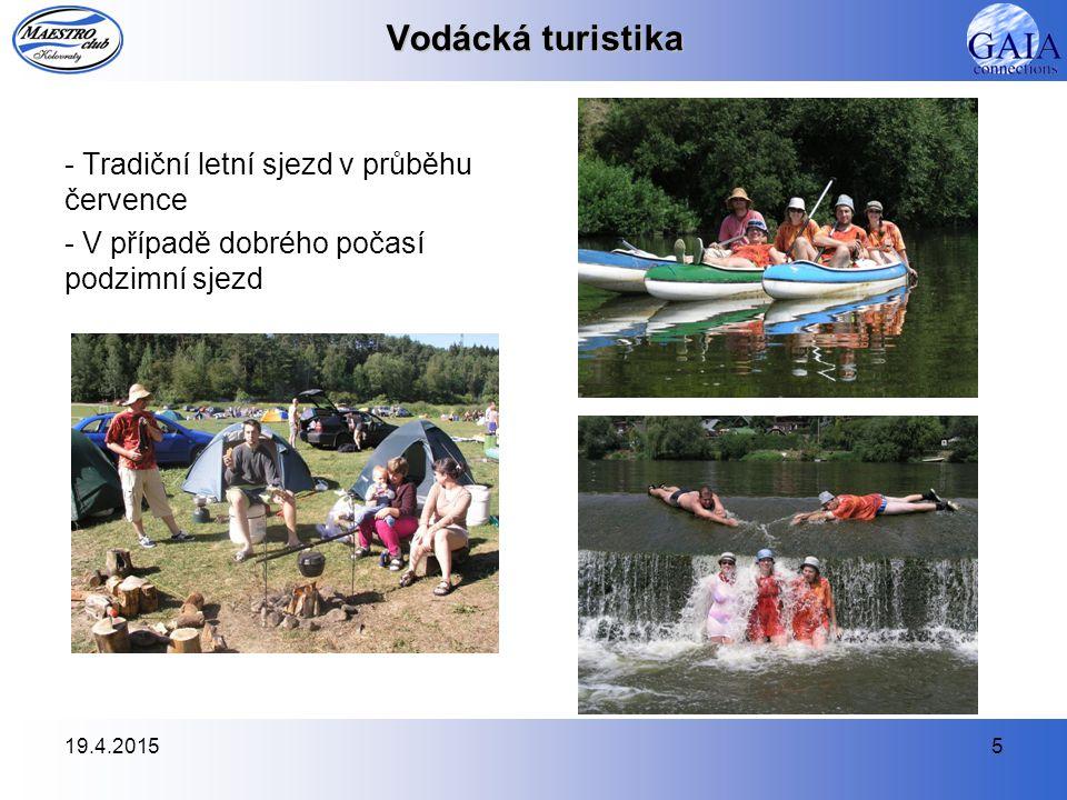 19.4.20155 Vodácká turistika - Tradiční letní sjezd v průběhu července - V případě dobrého počasí podzimní sjezd