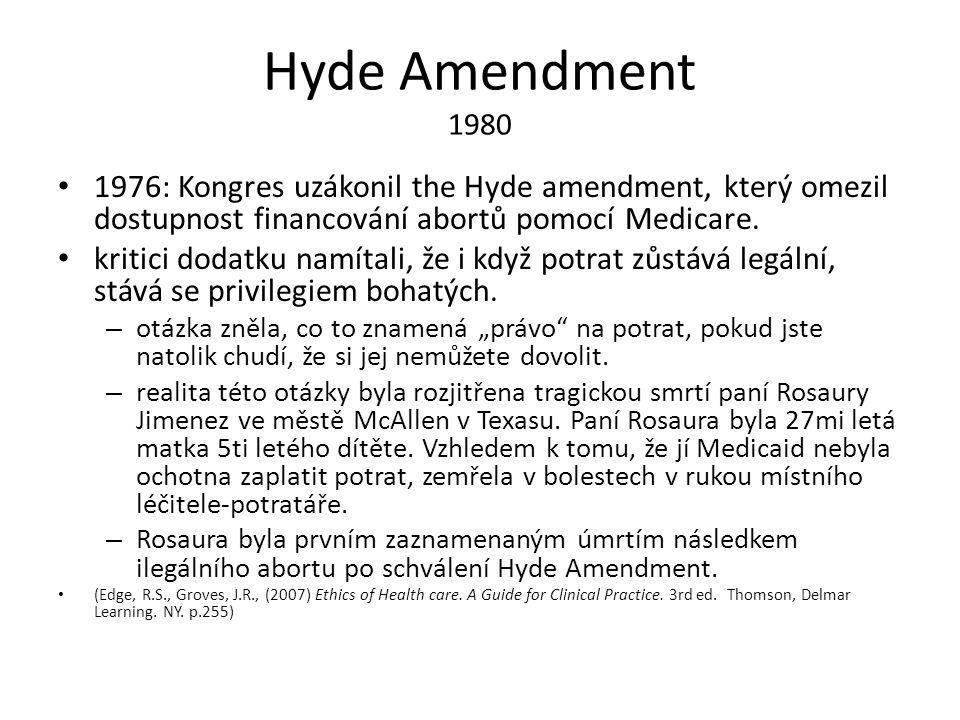 Hyde Amendment 1980 1976: Kongres uzákonil the Hyde amendment, který omezil dostupnost financování abortů pomocí Medicare. kritici dodatku namítali, ž